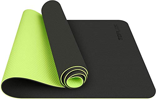 TOPLUS Esterilla Yoga Antideslizante Alfombrilla de Yoga Esterilla Pilates Esterilla Deporte- con Correa de Hombro 183cm x 61cm (Verde)