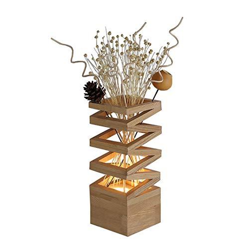 Lámpara de escritorio para sala de oficina 11.8 pulgadas de madera natural de la plaza del grano florero lámpara de mesa con flores artificiales, decoración de la lámpara de bricolaje flores artificia