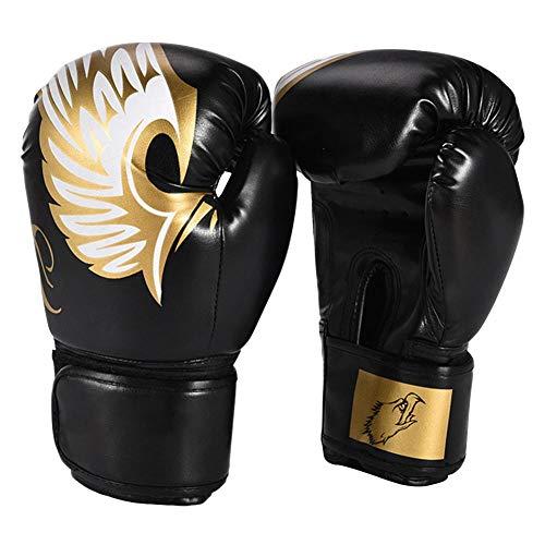 ShanDD PU-Leder-Kickboxen Training Soft Boxhandschuhe Stoß- Sports Einstellbare Handgelenk Schützen Padding Muay Thai Fingerless (Color : Black, Size : 1)