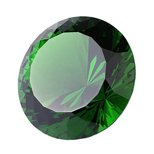 グリーンクリスタルガラス ダイヤモンド型 装飾 80mm ジュエル ペーパーウェイト ギフトデコレーション クリスマスや感謝祭のアイデア