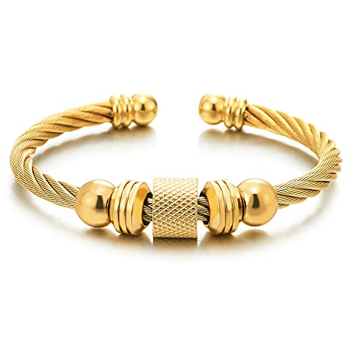 COOLSTEELANDBEYOND Color Oro Brazalete Unisexo, Pulsera de Hombre Mujer, Acero, Cable de Acero con Encantado Perla Colgantes, Ajustable