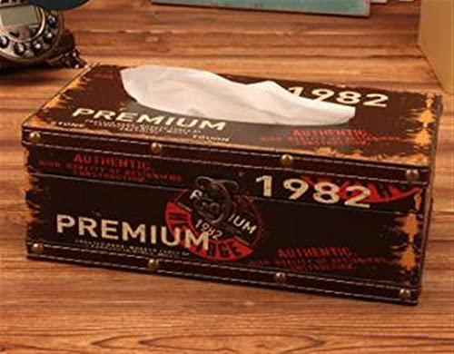 XNSCL Caja de almacenamiento vintage americana con cerradura, caja de pañuelos creativa, decoración de mesa de café, artículos prácticos para el hogar (color : Q)