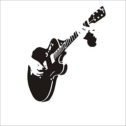Dosige 1 Piezas Decoración de la guitarra dibujo sala de estar sofá dormitorio fondo tallado pegatinas