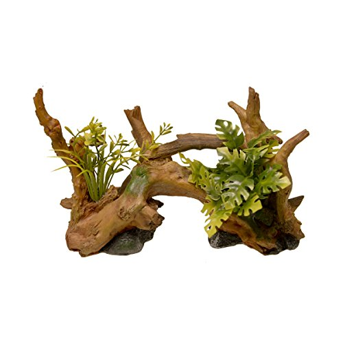 Blue Ribbon EE-639 Exotic Environments Driftwood Centerpiece with Plants Aquarium Ornament, Brown, Small