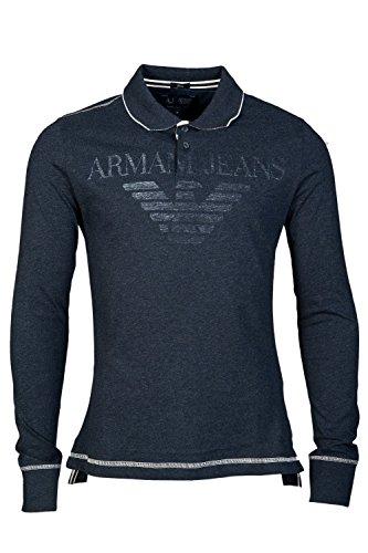 Diseño de tela vaquera Armani - long-de camiseta de manga corta Polo para mujer - de manga corta para hombre - Polo de manga corta logo AJ con manga larga gris M76 para hombre