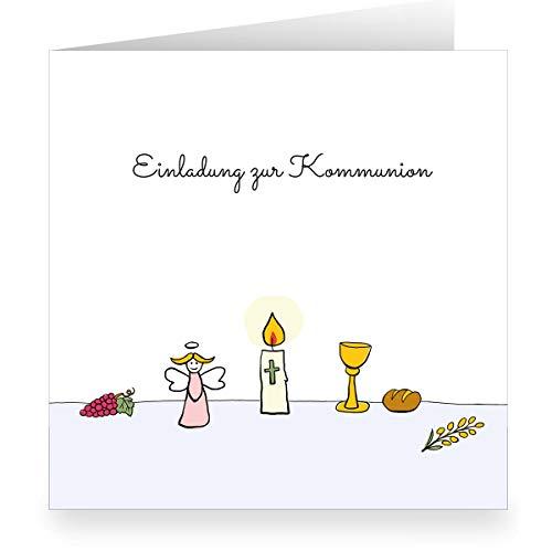 De set: mooie engel communie uitnodigingskaart met kelk en kaars: uitnodiging voor • vierkant, 15,5 x 15,5 cm • nodigt vrienden en familie uit om de mooiste momenten van het leven te vieren. 1 Einladungskarte wit