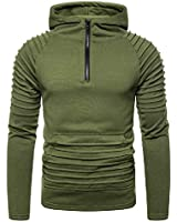 lexiart Mens Fashion Athletic Hoodie Casual Sport Sweatshirts Solid Color Pullover Shirts Green