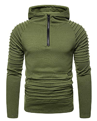 lexiart Mens Athletic Zipper Hoodies Pullover - Fashion Pleated Long Sleeve Shirts M Green