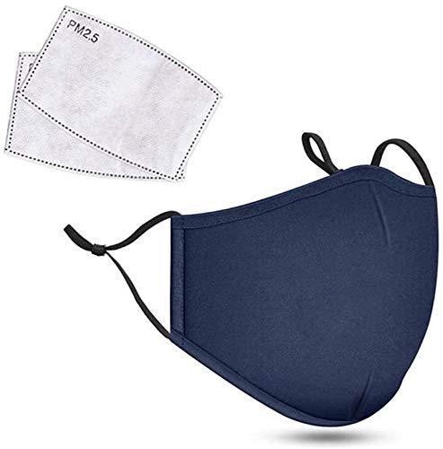 Copertura viso in cotone con 2 filtri dell'aria al carbonio, lavabile e riutilizzabile, con cinghie regolabili (blu).