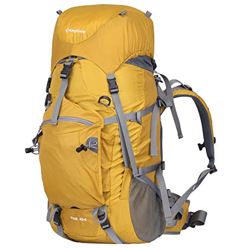 KingCamp 50L Internal Frame Hiking Backpack with Rain Cover for Men Women,45L+5L Waterproof Anti-Tear Climbing Backpacks with Adjustable Strap Belt for Camping Backpacking, Yellow, One Size