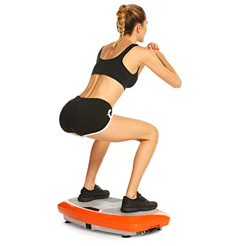 Bunao 3D Fitness avec Plateforme de Vibration,Matériel d'exercice pour la Maison,Plaque vibrante, Équilibrer Votre Poids, télécommande et Sangles d'équilibre incluses, écran (Typ3)