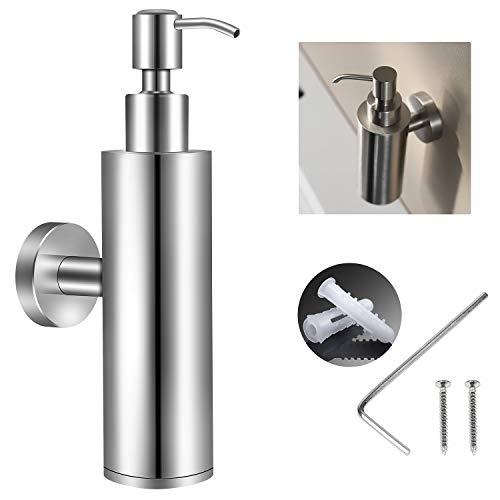 EXLECO Seifenspender Wandmontage Edelstahl 304 200ml Chrome Seifenspender Wandmontage Bad Manueller Shampoo Duschgel Flasche