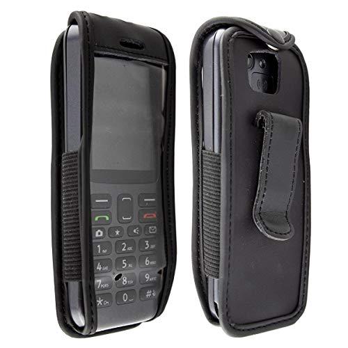 caseroxx Hülle Ledertasche mit Gürtelclip für Doro 5516/5517 aus Echtleder, Tasche mit Gürtelclip & Sichtfenster in schwarz