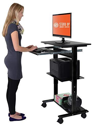 Mobile Adjustable Height Stand Up Workstation (Black & Black)