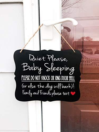 Modtory Rustig Gelieve Baby Slapen, niet kloppen of Ring Deurbel, (of anders De Hond zal blaffen)! Voordeur Outdoor Houten bord Plaque Home Decor voor Ophangen
