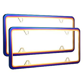Deselen Chrome Chameleon License Plate Frame Rainbow Flowery Bluing Pack of 2
