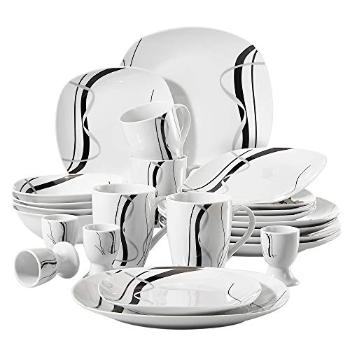 VEWEET 'Fiona' 20-Piece Ivory White Black Lines Porcelain Dinner Combi-Set with 4 * Egg Cup, 4 * Mug, 4 * Bowl, 4 * Dessert Plate, 4 * Dinner Plate