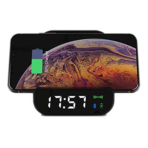 Cargador Inalámbrico con Reloj Despertador Digital, Altavoz Bluetooth, Soporte para Teléfono Móvil, Despertadores De Cabecera con Repetición para Dormitorio, Cocina, Oficina