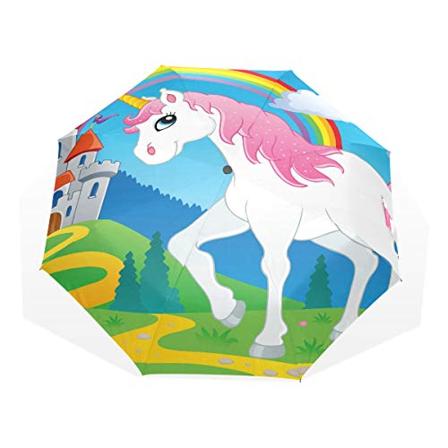 Kids Umbrella Rain Fairy Tale Unicorn Theme Image 2 Vector Illustra Windproof Compact Windproof Umbrellas for Women Rain & Wind Resistant Compact and Lightweight for Business and Travels