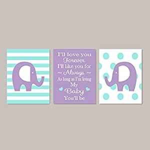 Lovely Cartoon Elephant and Warm Love Letter for Baby Canvas Picture Frames Wall Art Nursery Canvas Print for Baby's Room Girl's Room 3 Panels Canvas Set Each Size is 30cm x 40cm(11.8″ x 15.7″)