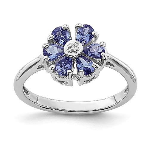 DIAMOND2DEAL INC Anillo de Compromiso de Plata de Ley 925 con tanzanita y Diamante, 0,825 Quilates