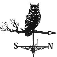 NC ステンレス ウェザーベーン ファーム シーン屋外ガーデン ヤード屋根装飾工芸品 - フクロウ