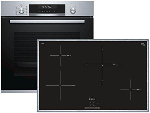 Bosch HBD674CS80 Elektrische kookplaat, set voor keukenapparaten, met inductie, glas en keramiek, zwart, 1400 W, aanraking, 79,5 cm