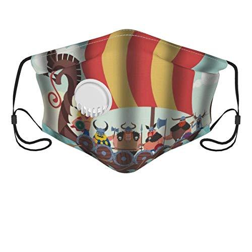 Funda para la cara, diseño de dibujos animados vikingos, pasamontañas unisex reutilizable a prueba de viento anti polvo boca bandanas para acampar al aire libre motocicleta correr cuello polaina