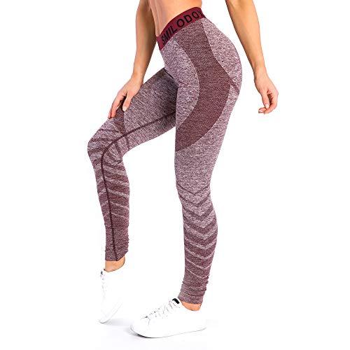 SMILODOX Sport Leggings Damen 'Vira'   Seamless - Figurformende Tight für Fitness Gym Yoga Training & Freizeit   Sporthose - Workout Trainingshose, Größe:L, Farbe:Bordeaux