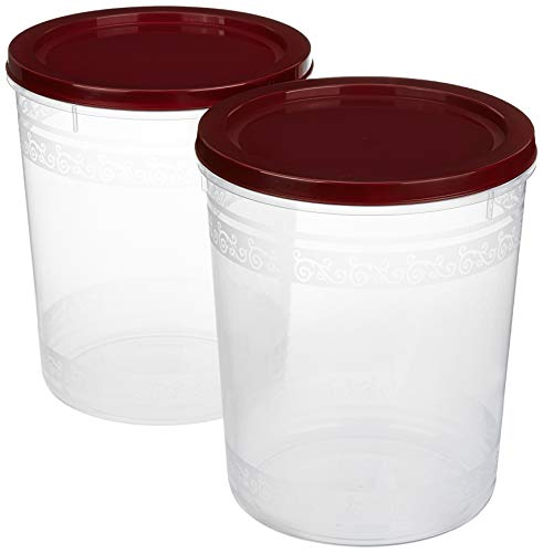 Amazon Brand – Solimo 2-Piece Kitchen Storage Container Set, 7.5 litres, Brown Lid, Plastic