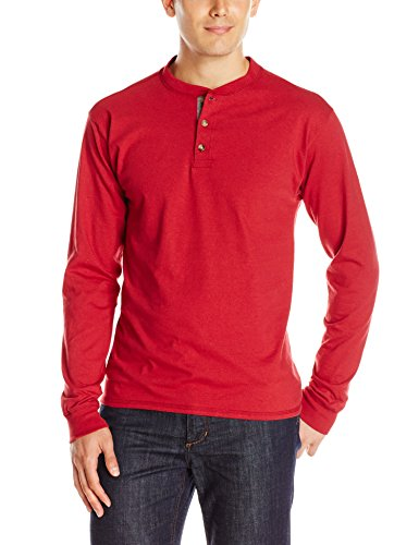 Hanes Men's Long-Sleeve Beefy Henley T-Shirt - Medium - Burnt Brick