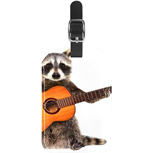 Gepäckanhänger Rock Waschbär mit Akustikgitarre Leder Reise Koffer Etiketten 1 Packung