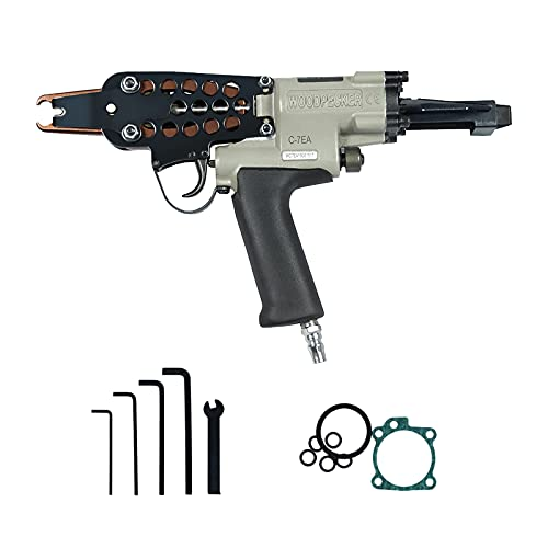 WOODPECKER C-7EA 15 Guage Pneumatic Hog Ring Gun with Slim Long Nose, 7.0mm Closure Diameter, 3/4-Inch Crown Hog Ring Staples, Air Hog Ring Plier Tool Power C Ring Gun for Fencing, Wire Cages