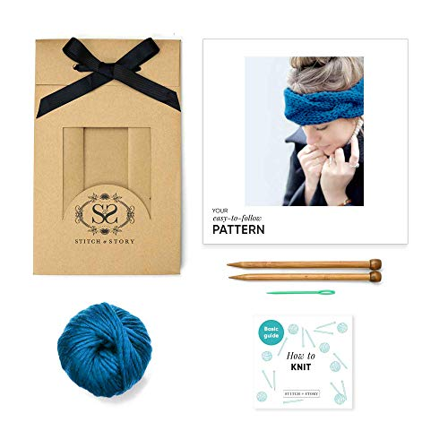 Stitch & Story Chunky Cable Headband Beginner Knitting Kit, Deep Sea Blue