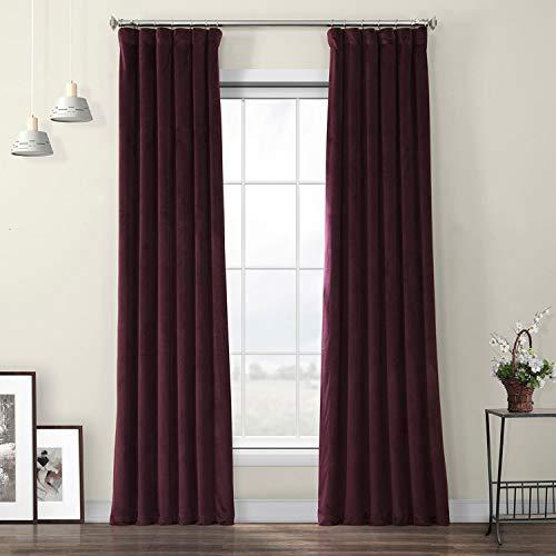 HPD Half Price Drapes VPYC-190162-96 Heritage Plush Velvet Curtain (1 Panel), 50 X 96, Winter Plum