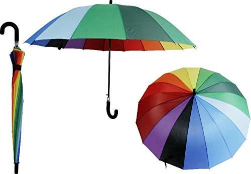 XXL Regenschirm 120cm Partnerschirm 2 Personen Schirm Familie Regenbogen bunt