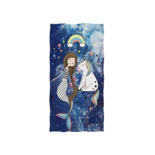 linomo - Toalla de Mano, diseño de Sirena, Unicornio, Galaxia, Toalla de Cara, Toalla de algodón para niños, niñas, niños y Adultos