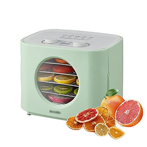 GAO-bo Deshidratador de Alimentos, secador de Frutas de Tipo Horno, con función de fermentación de Yogur, Gran Capacidad de 5 Capas, Control electrónico, Pantalla LED, cavidad de Acero Inoxidable