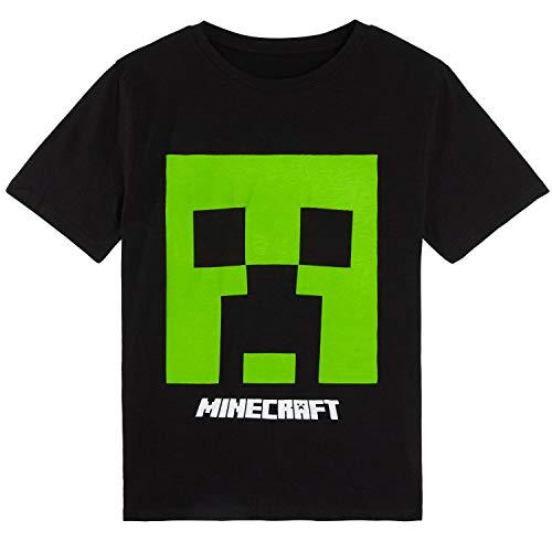 Minecraft T Shirt Jungen, Schwarz Tshirt Kinder Creeper, Baumwolle Kinder Kleidung, Teenager Shirt, Original Fanartikel, Geschenke für Kinder (10-11 Jahre)