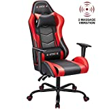 ECOTOUGE PC Gaming Chair Massage Ergonomic Office Desk Chair Racing PU Leather Recliner Swivel Rocker with Headrest and Lumbar Pillow, Red