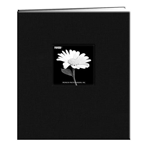 Pioneer MB-811CBFBLK 8 1/2 Inch by 11 Inch Postbound Fabric Frame Cover Memory Book, Deep Black