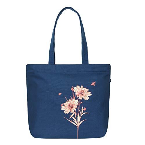 Eco Right Grand Sac fourre-tout en toile avec fermeture éclair imprimée en coton pour femme, sac de plage, sac tissu, sacs cadeaux, sacs à provisions, sac a main femmes