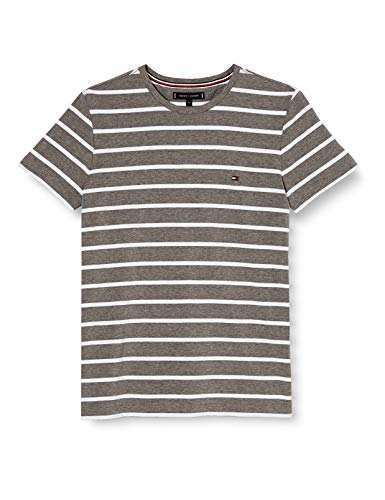 Tommy Hilfiger Stretch Slim Fit tee Camisa, Dark Grey Htr/White, M para Hombre