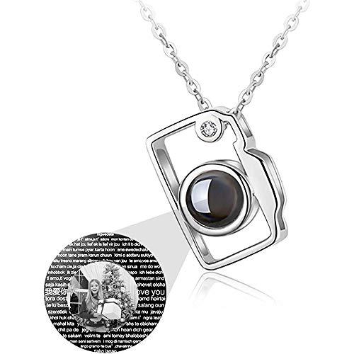 Cablo Benutzerdefinierte Foto Halskette Personalisierte Projektion Halskette Katze/Kamera Anhänger 100 Verschiedene Sprachen Ich Liebe Dich Halskette Geschenk für Frauen