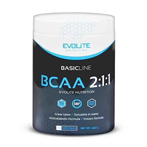 Evolite Nutrition BCAA 2:1:1 Paquete de 1 x 400g Aminoácidos de Cadena Ramificada Leucina Isoleucina e Valina Regeneración Muscular (Currant Cocktail)