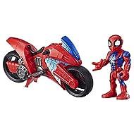Playskool Heroes Marvel Super Hero Adventures Spider-Man Swingin' Speeder, 5 Inch Figure and Motorcy...