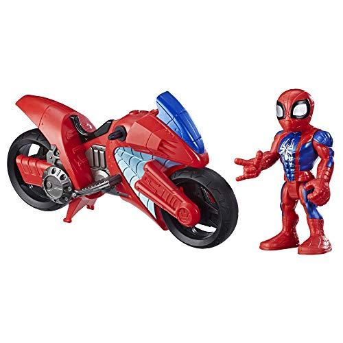 Hasbro E7929ES0 Playskool Heroes Marvel Super Hero Adventures Spider-Man Swingin' Speeder, 12,5 cm Figur und Motorrad, Spielzeug für Kinder ab 3 Jahren