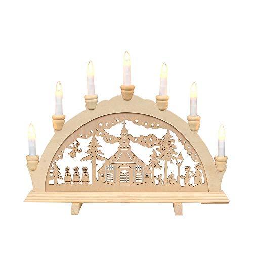 Wichtelstube-Kollektion Holz Schwibbogen Seiffener Kirche im Erzgebirge Lichterbogen