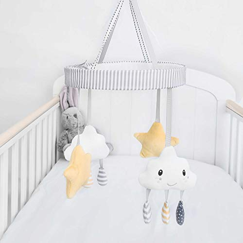 Nuby Musical Cot Mobile for Babies with Cloud and Star Rotating Toys