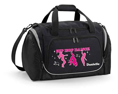 Mein Zwergenland Sporttasche Kinder personalisierbar mit Schuhfach, Kindersporttasche 39L mit Name und Tänzer Bedruckt in Schwarz